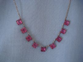 1930s Art Deco Necklace -Silver and Pink Crystal Squares (SOLD)
